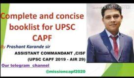 Toppers CAPF Booklist by AIR 29 Prashant karande sir.(asst. comm./ACP19)explained by swapnil walunj